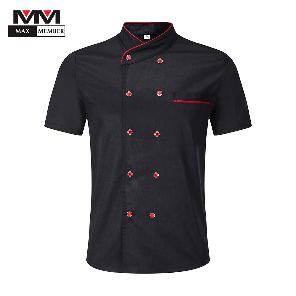 Unisex Solid Double Breasted Oblique Collar Short Sleeve Chef Kitchen Cooking Work Uniforms Restaurant Cafe Waiter Jackets Apron