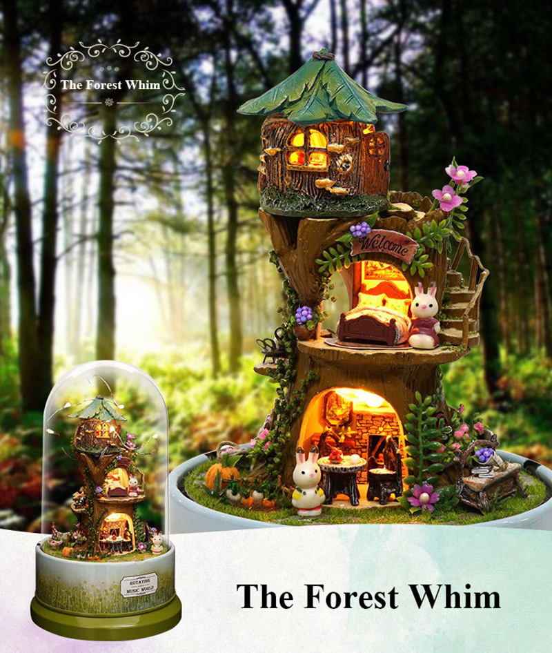 DIY Dollhouse Rotate Music Box Miniature Assemble Kits Doll House With Furnitures Wooden House Toys for Children Birthday Gift (7)