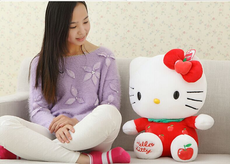 fillings toy red apple fruit design hello kitty plush toy about 45cm kitty soft pillow high quality birthday gift b4973 large pink strawberry fruit hello kitty