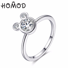 HOMOD New Arrival Silver Color Dazzling Miky Mouse Rings With Cubic Zirconia Fits Brand Ring For Women Engagement Jewelry