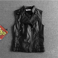 2016Autumn And Winter Leather Vest Women PU Soft Vest Ladies Tatical Leather Motorcycle Pocket Vest Waist