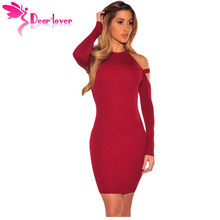 Dear Lover bodycon sweater dresses for women 2017 Solid Wine Strappy Cold Shoulder Long Sleeve Mini Dress vestidos curto LC22856