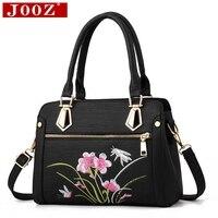 JOOZ Famouse brand handbags female flower embroidery shoulder bags for women messenger bags Blue Pink Black crossbody bag