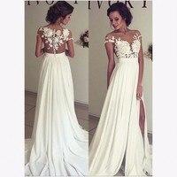 Sexy Beach Wedding Dresses With Side Slit Applique Lace Sheer Bodice Chiffon Bride Dress 2019 louisvuigon White Wedding Gown