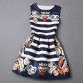 Особая грань полосатом платье женщин бренд старинные основные вышивка о-образным шею рукавов плиссированные печатать платье
