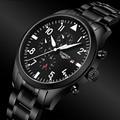Relógios Homens 2016 GUANQIN Relógio Exército Esporte Militar Homens Completa Aço relógio de Pulso Preto Mecânico Automático do relógio de Pulso Marca de Luxo