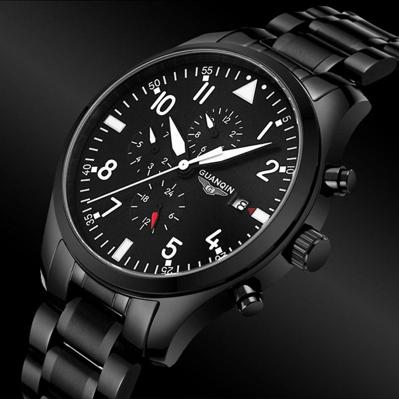 Watches font b Men b font 2016 GUANQIN Army Watch Full Steel Sport Military font b