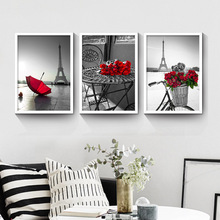 Black City Landscape Red Flower Print Nordic Canvas Painting Home Decor Tower Wall Art Hotel Living Room Picture DIY Backdrop