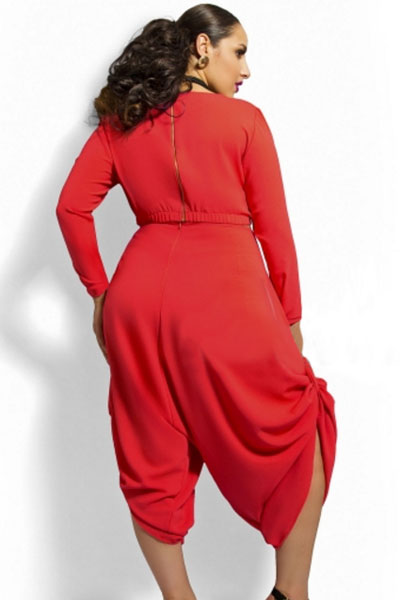 83f8d98c17ed0 FIYOTE 4 Colors White Red Black Olive Plus Size Crop Top Draped Convertible  Pants Set LC60591 Fashion Woman Plus Clothing Set-in Jumpsuits from Women s  ...