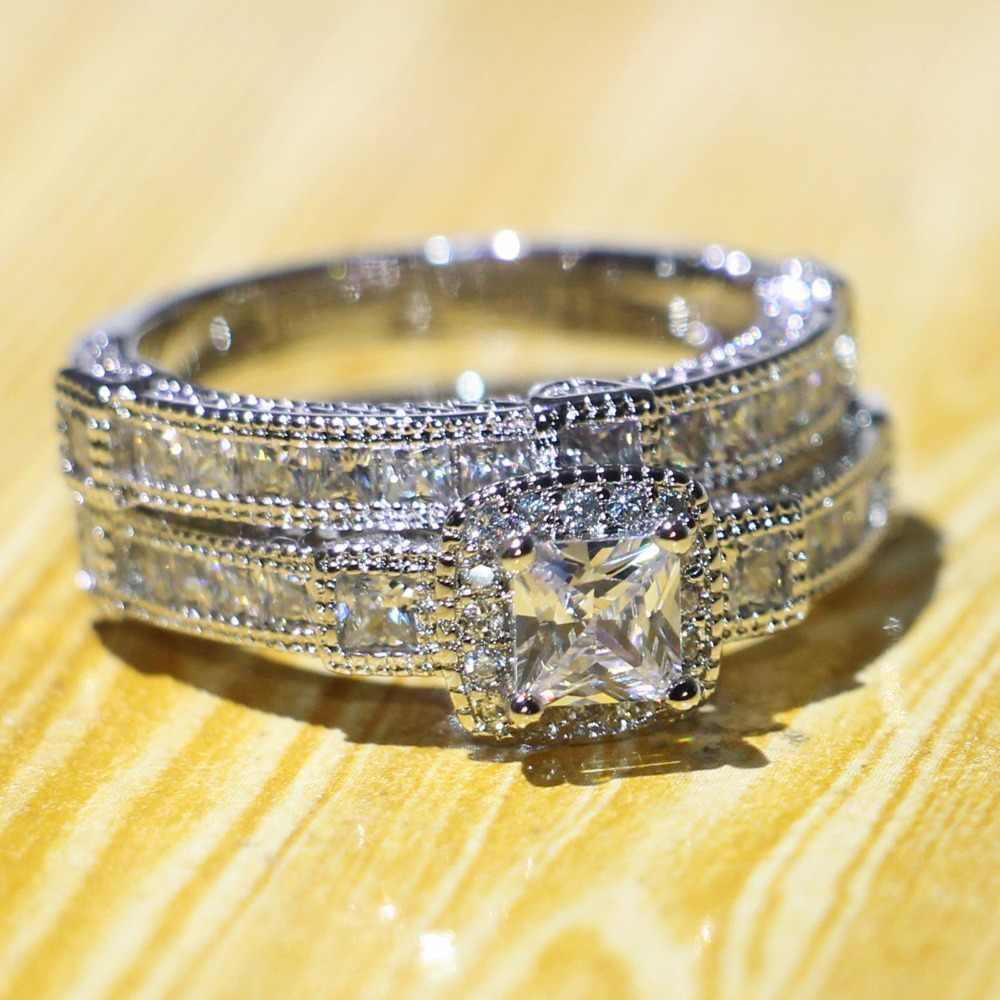 Vintage Da Moda Jóias Anéis Casal 925 Sterling Silver Princesa Corte AAAAA Zirconia Promessa Anel Nupcial Set Presente de Casamento Das Mulheres