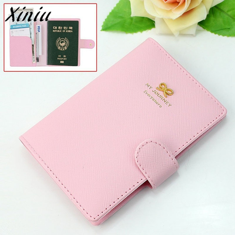 Bolsas 2017 Sweet Bowknot Crown Buckles Passport Holder Protect Cover Case Organizer Leather Passport Cover Dropshipping
