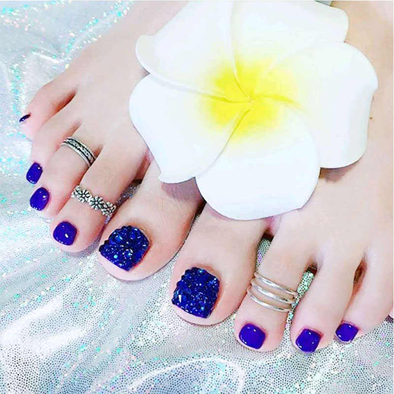 24pcs Holiday Beach Blue Toenails Patch Summer Blue Smile Style Foot Artificial Full Cover Articficial Fake Nails Press On Nails