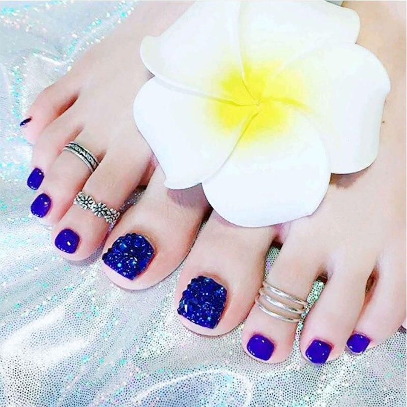 24 шт., для отдыха, для пляжа, синие ногти на ногах, пластыри, летние, синие, со смайликами, искусственные, полное покрытие, искусственные ногти на ногтях