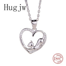 authentic sterling silver 925 naughty cat necklace in jewelry pendant necklace with CZ chain silver fashion jewelry for women genuine sterling silver 925 love heart mom hug kid necklace in jewelry pendant necklace with cz chain fashion jewelry for mother