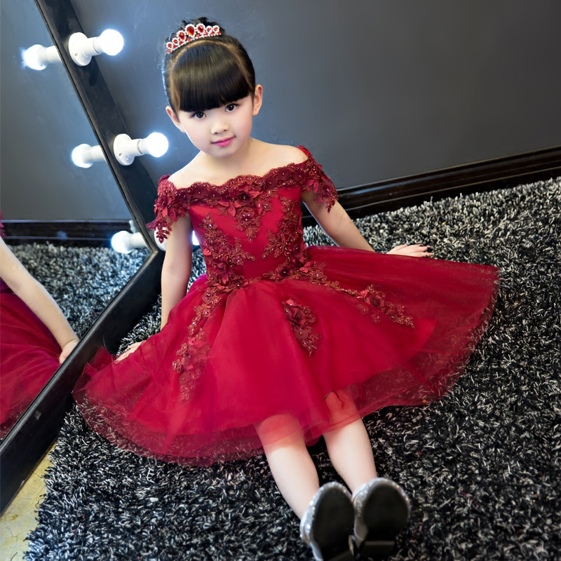 Ball Gown Flower Girl Dresses Appliques Shoulderless Girls Party Dress for Wedding Birthday Short Tutu Princess Dress princess flower girls tutu dress with lace straps girls evening dress for birthday party wedding flower ball gown handmade dress