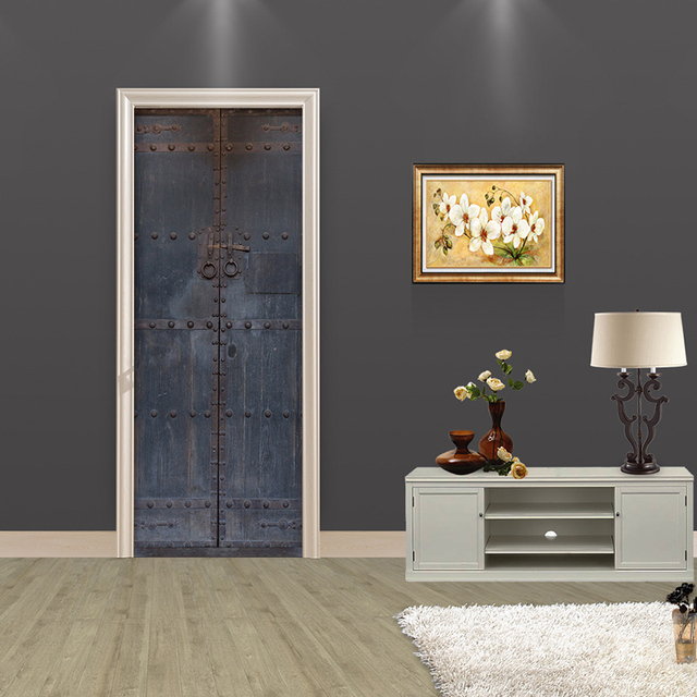creatieve diy 3d deur stickers oude houten deur patroon home decor voor woonkamer grote muursticker home