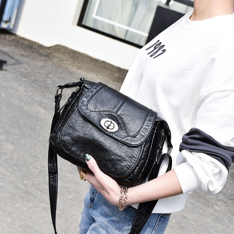 New Designer Lock Black Shoulder Bag Soft Leather Handbag Women Messenger Bags Crossbody Fashion Women Bag Female Flap Bolsa in Shoulder Bags from Luggage Bags
