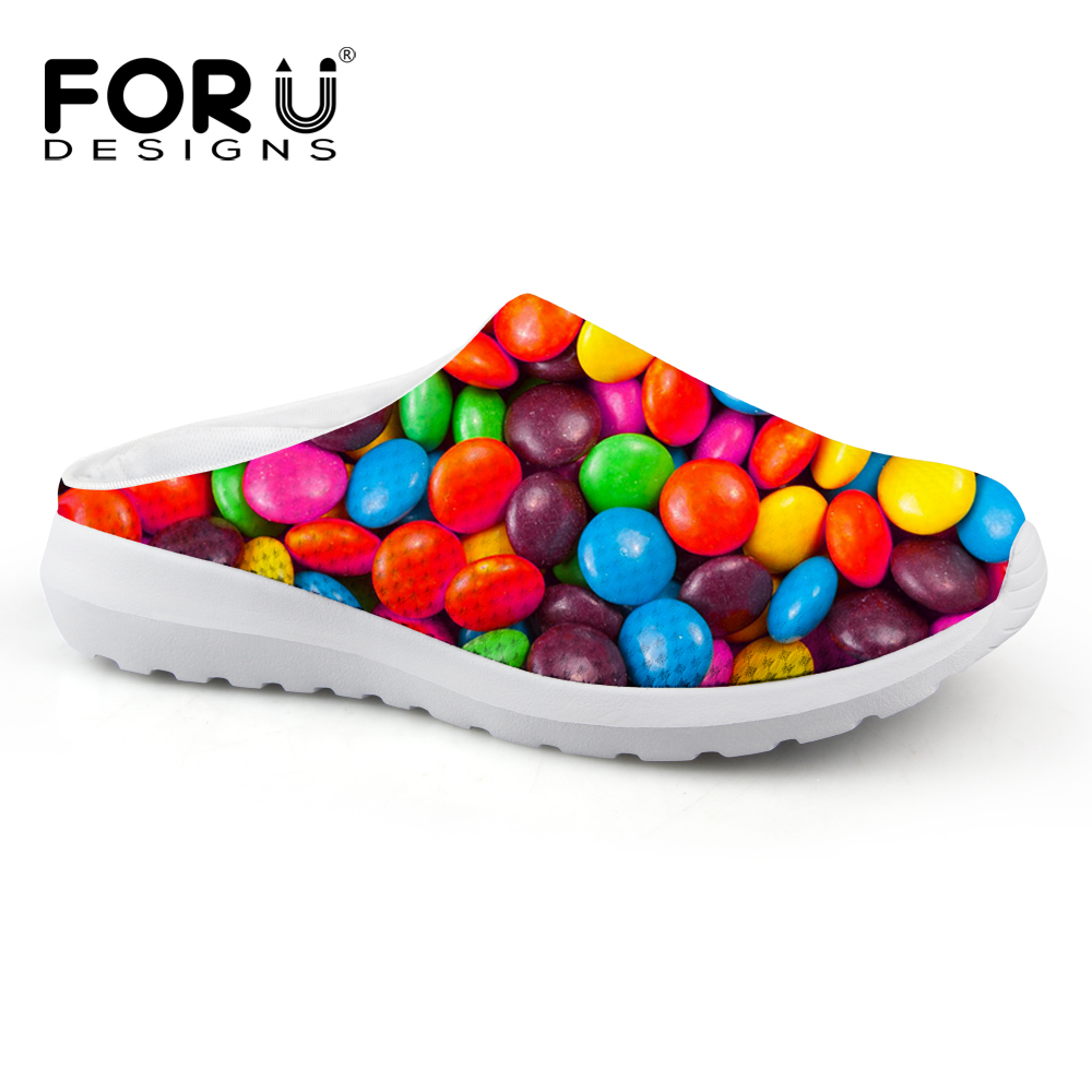 FORUDESIGNS Fashion Women's Slip-on Sandals Candy Color Printed Ladies Flats Slippers Female Summer Air Mesh Shoes Breathable 2017 kids summer shoes new air mesh for children holes candy color slip on unisex breathable running fashion sport cool sneakers