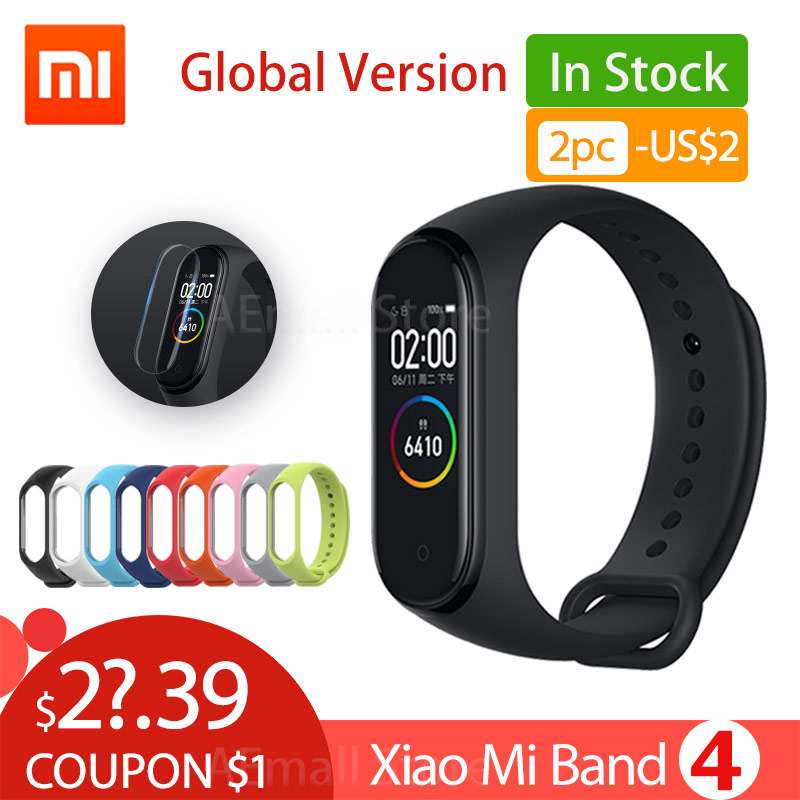 Global Version Xiaomi Mi Band 4 Smart Wristbands Miband 4 Bracelet Heart Rate Fitness 135mAh Color Screen Bluetooth 5.0 Chinese(China)
