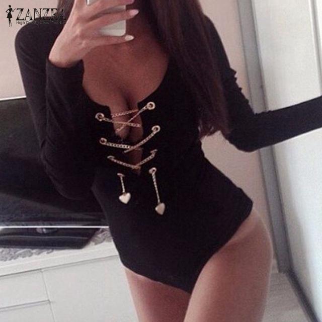 Rompers Womens Slim Fit Playsuits Long Sleeve Tops