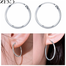 ZEMO Womens Big Earrings 925 Silver Hoop for Girls Round Ear Piercing Jewelry Accessories boucle doreille femme 2019