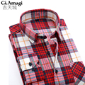 New Fashion 2016 men shirts plaid causal shirt long sleeve flannel high quality mens clothes Business Fashion camisa masculina