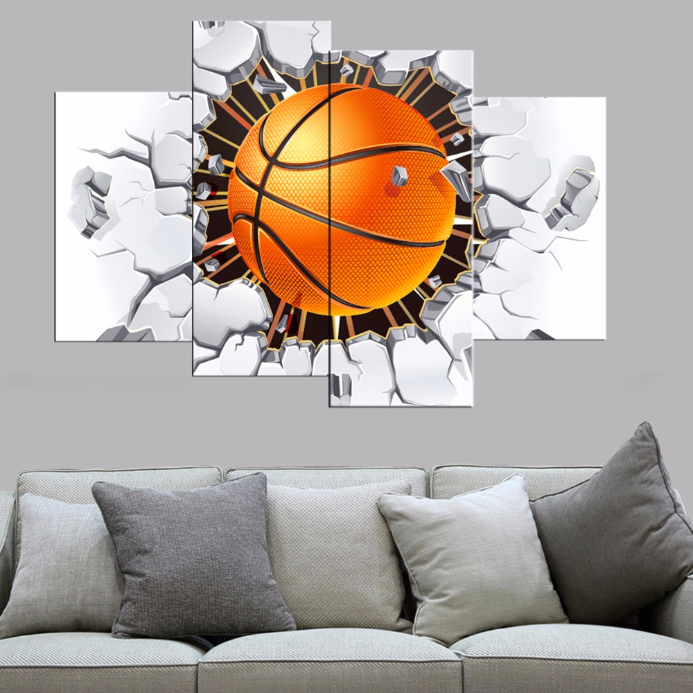 Buy 4 Pcs Modern Basketball Canvas Print Poster Bedroom Wall Art Canvas