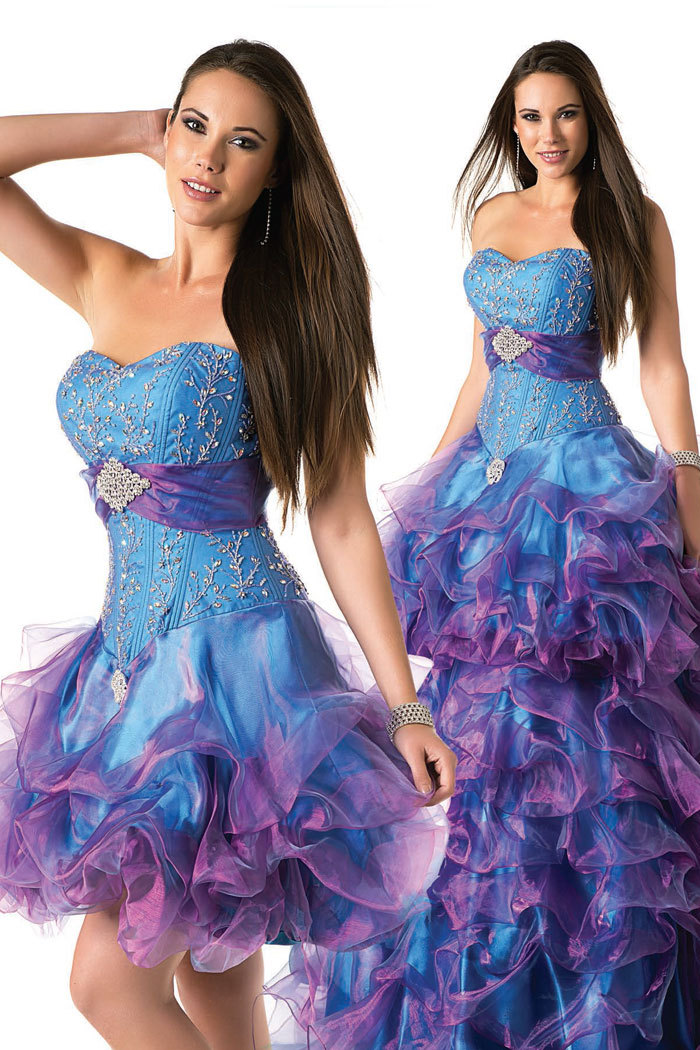 Best Price Purple And Blue Sweetheart With Removable Skirt Ball Gown Quinceanera gown 2018 vestido de noiva bridesmaid dresses