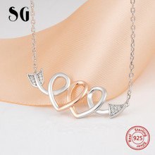 Highly recommend double heart Cupids Arrow pendant chain necklace 925 sterling silver diy fashion jewelry making for women gift