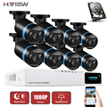 H. view 8ch sistema de cámaras de seguridad cctv ahd dvr 8 unids al aire libre 2.0 Cámara DEL CCTV AHD Vigilancia 8CH CCTV Sistema de Cámara de 1 TB HDD