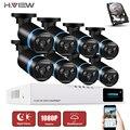 H. view cctv segurança sistema de câmera 8ch ahd dvr 8 pcs ao ar livre 2.0 Câmera de CCTV AHD CCTV Sistema de Câmera de Vigilância 8CH 1 TB HDD