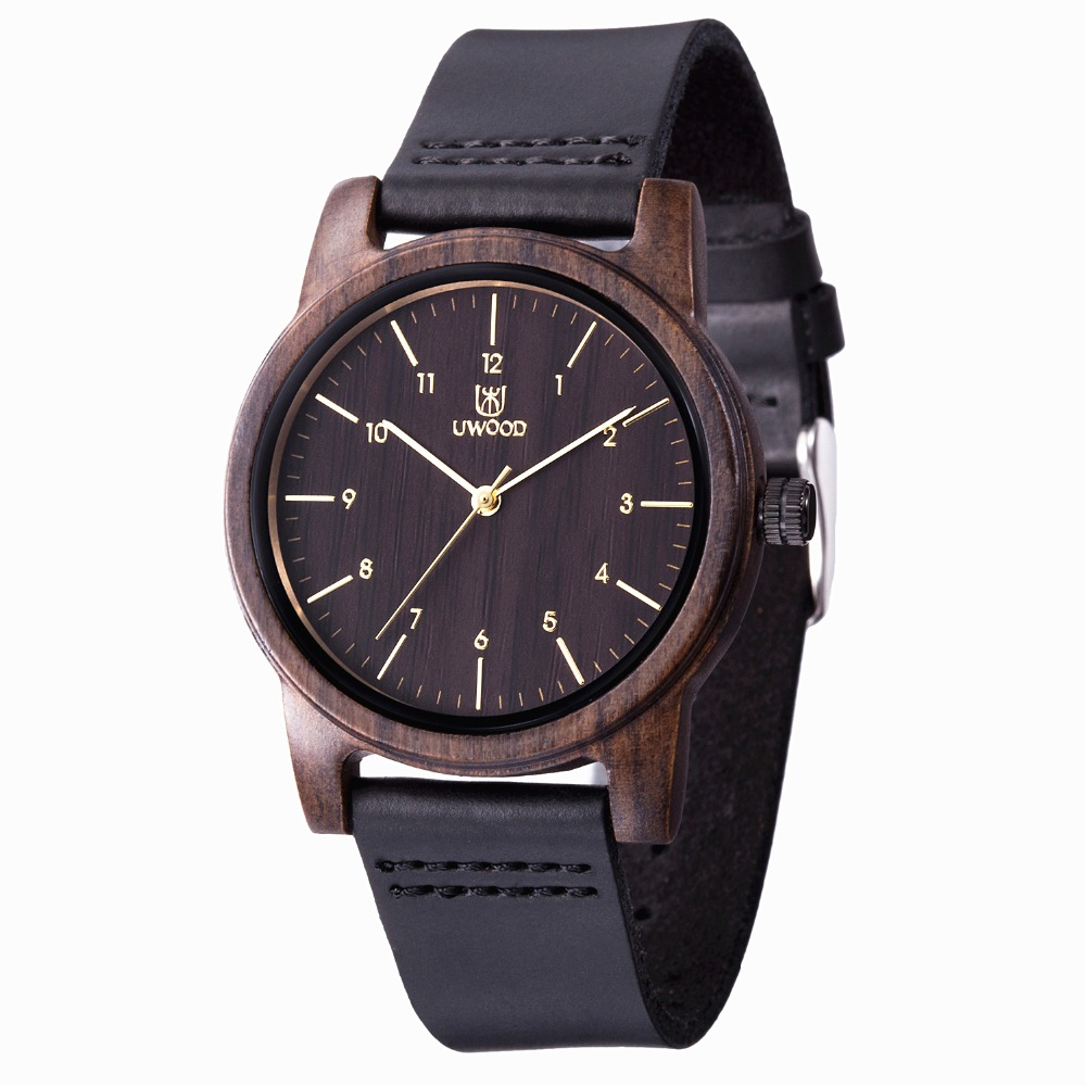 UWOOD Wooden Watches Top Brand Luxury Quartz Watch Leather Men Wrist Watch Fashion Vintage Unisex Wood Clock Relogio Masculino fashion relogio masculino luxury tv dial quartz wrist watch pu leather dress women men unisex clock gifts sports wrist watches