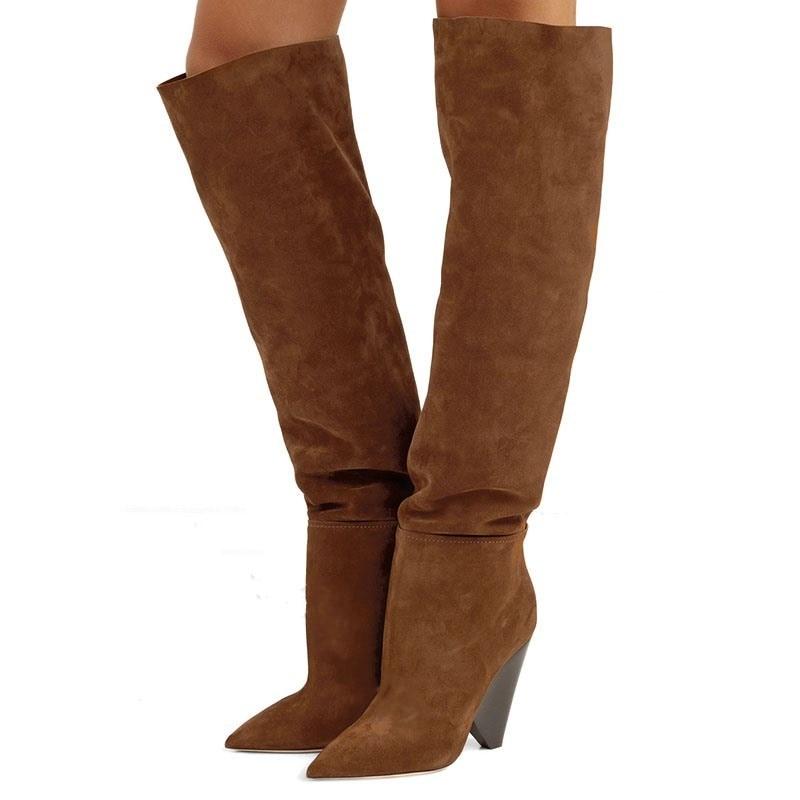 Nouveau Botas automne Runways Design à talons hauts femmes chaussures marron daim Slouchy bottes longues au genou bottes femmes grande taille 43