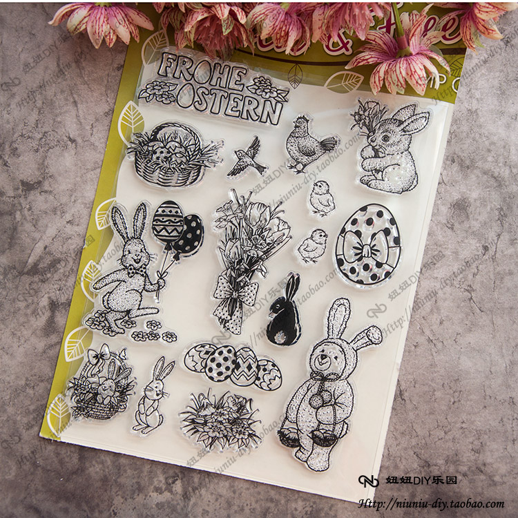 Lovely Animal rabbit Clear stamp Scrapbook DIY photo cards account rubber stamp clear stamp transparent seal Handcrafted art scrapbook diy photo cards account rubber stamp clear stamp finished transparent chapter wall decoration 15 18