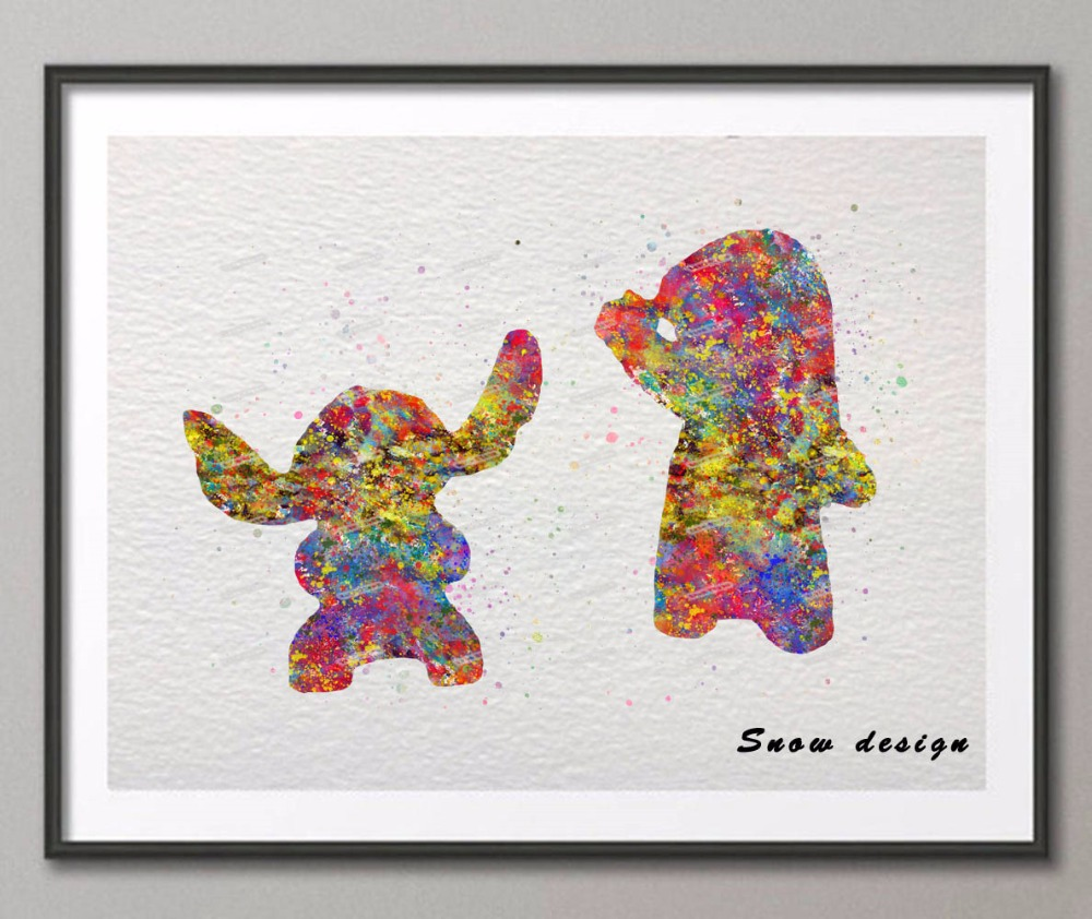 Original watercolor Lilo & Stitch canvas painting wall art poster ...