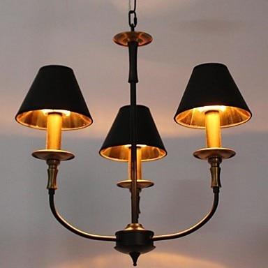 110V-220V Black Shade Gold Modern LED Chandelier 3 Lamps Chandeliers China Home Lighting For Dinnig Living Room Free Shipping