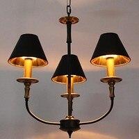 110V 220V Black Shade Gold Modern LED Chandelier 3 Lamps Chandeliers China Home Lighting For Dinnig Living Room Free Shipping