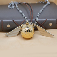 Hogwarts Golden Snitch Pewter PENDANT Key Chain Key Ring Can Open Storage Box Necklace