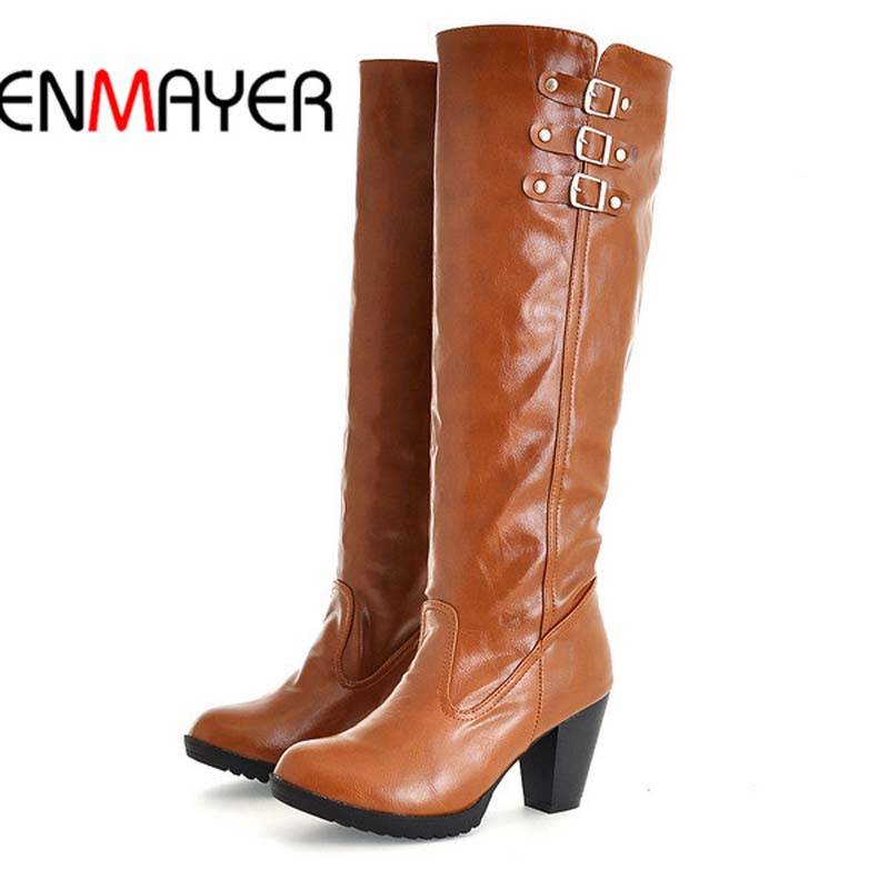 ENMAYER Black Brown Beige Yellow Knight Boots For Women New Hot Round Toe Square heel High Boots Spring Autumn Knee-High Boots enmayer over the knee boots shoes new pu knitting square heel high boots warm snow long boots red brown black knight boots