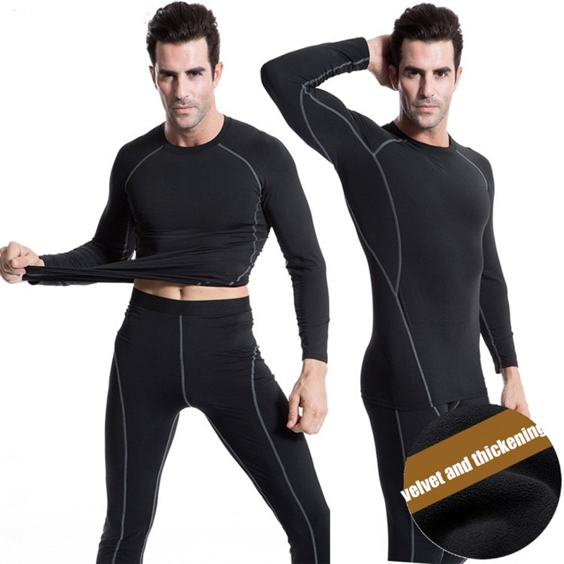 One Set Winter Men Thermal Underwear Motorcycle Skiing Shirts Pants Warm Base Layers Tight Long Johns Tops Trousers Set Clothing