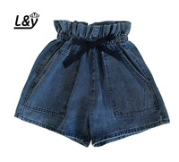 L&Y Women Shorts Jeans Summer Fashion Bow Tie Ruffled Elastic High Waist Shorts Pocket Loose Fit Short Denim Shorts Women
