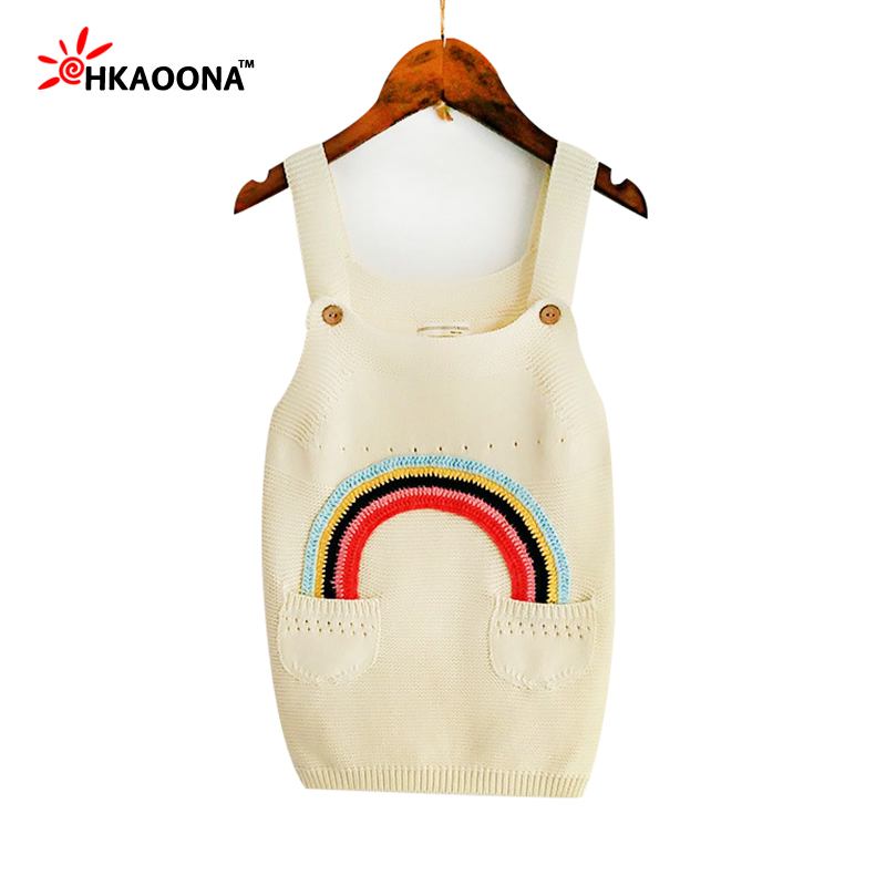 HAKOONA Girls Cotton Sweater Strap Crochet Dress Rainbow Pattern With 2 Pockets Spring Fall Kids Clothes