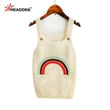 HAKOONA Filles Coton Sangle De Chandail Crochet Robe Motif Arc-En-Avec 2 Poches Printemps Automne Enfants Vêtements 18 M-5 T