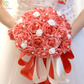 Buque De Noiva SSYFashion marrige nupcial que sostiene la flor Romántica dulce 30 unids rosa ramos de novia celebración apoyos Accesorios