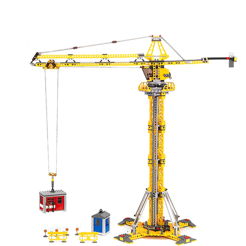 LEPIN 02069 City Building Crane Figure Blocks Compatible Legoe 7905 Educational Construction Building Toys For Children waz compatible legoe city lepin 2017 02022 1080pcs city 50th anniversary town figure building blocks bricks toys for children