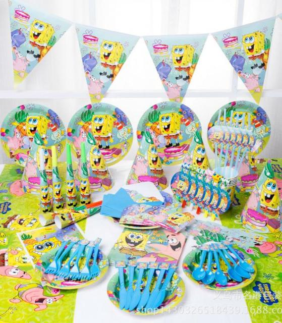 148pcs Lot Spongebob Theme Package Kids Birthday Decoration Set Party Supplies Baby Pack