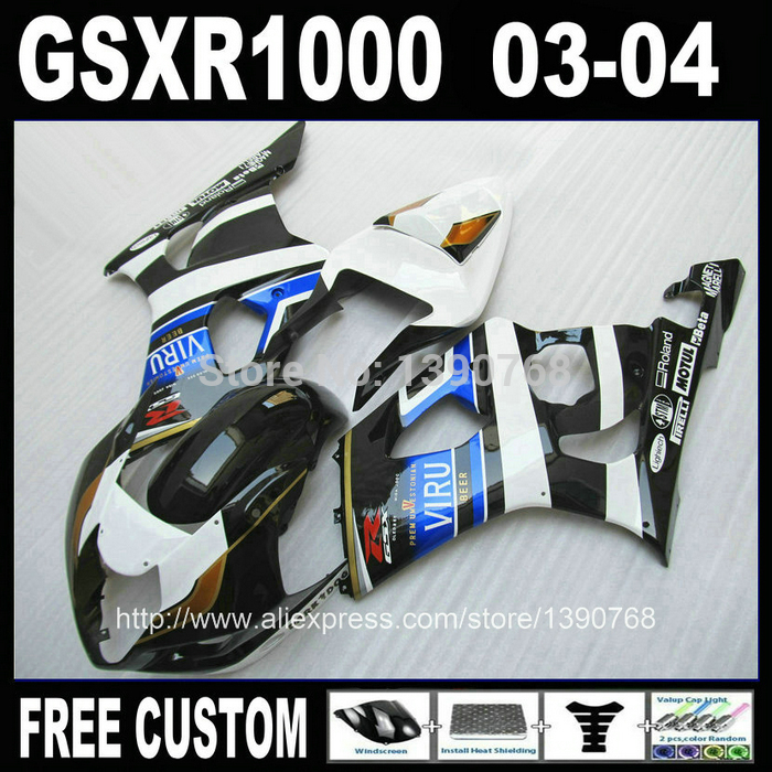 Custom ABS fairing kit for SUZUKI GSXR 1000 2003 2004 white blue black fairings bodywork set K3 GSXR1000 03 04 TU97 custom road fairing kits for suzuki glossy flat black 2006 gsxr 1000 k5 2005 gsx r1000 06 05 motorcycle fairings kit