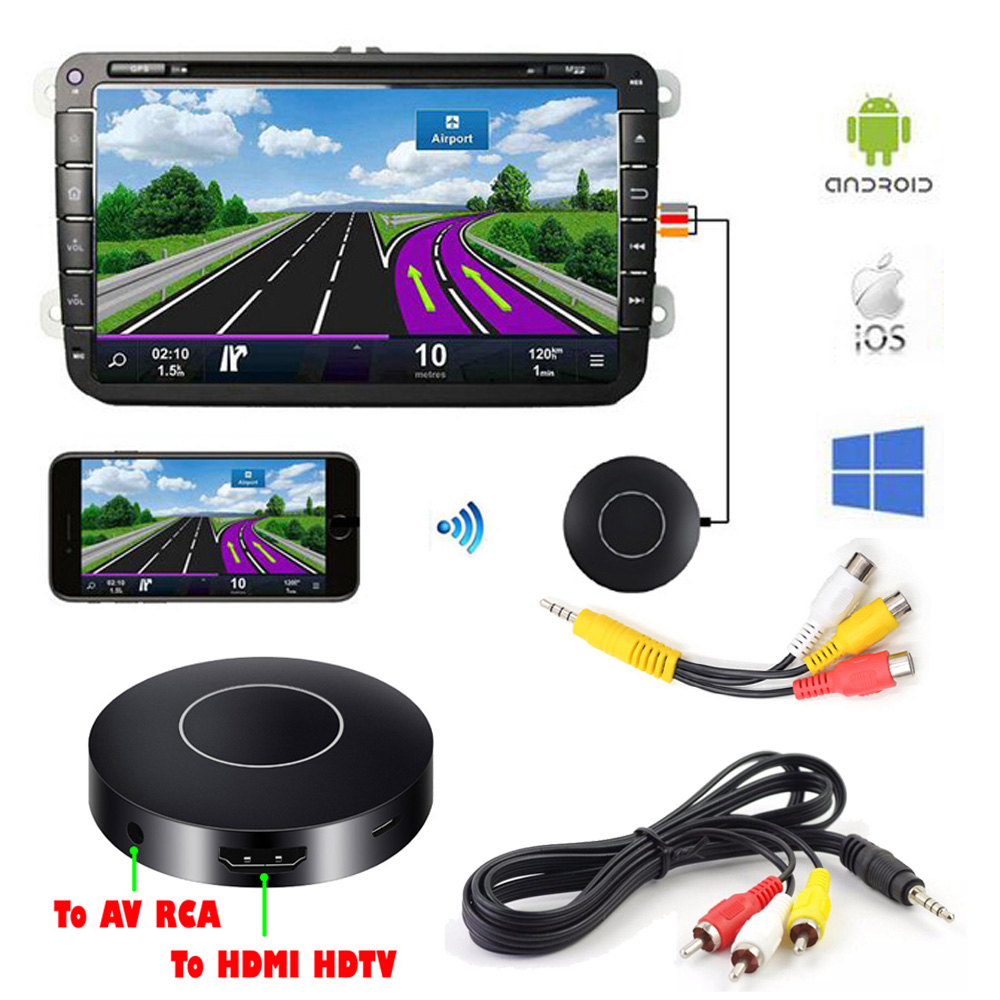 Car Auto Media DLNA Miracast Airplay Screen Mirroring Dongle TV Stick Digital Wireless HDMI AV RCA Output Video Streamer Display(China)