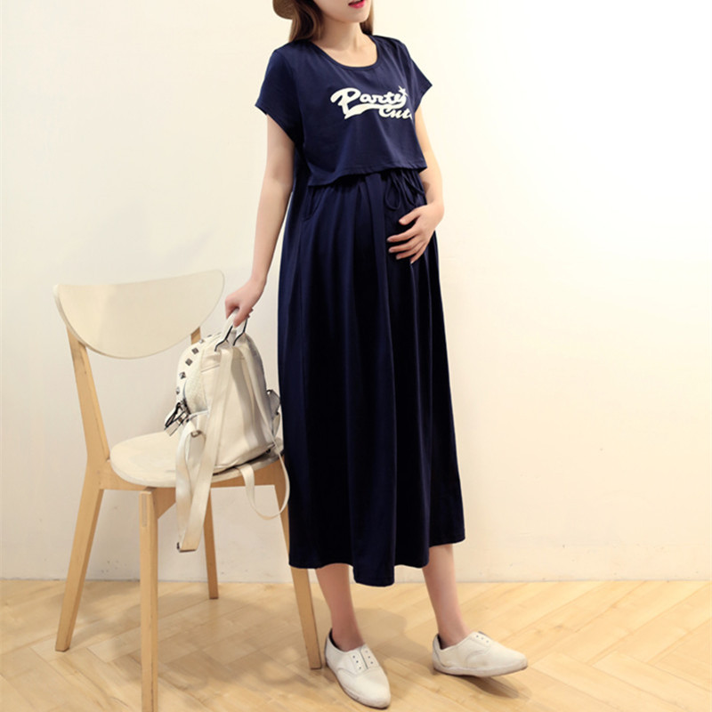 цена на Summer Two-piece suit Nursing Maternity Long Dresses Breast Feeding Clothes for Pregnant Women Pregnancy