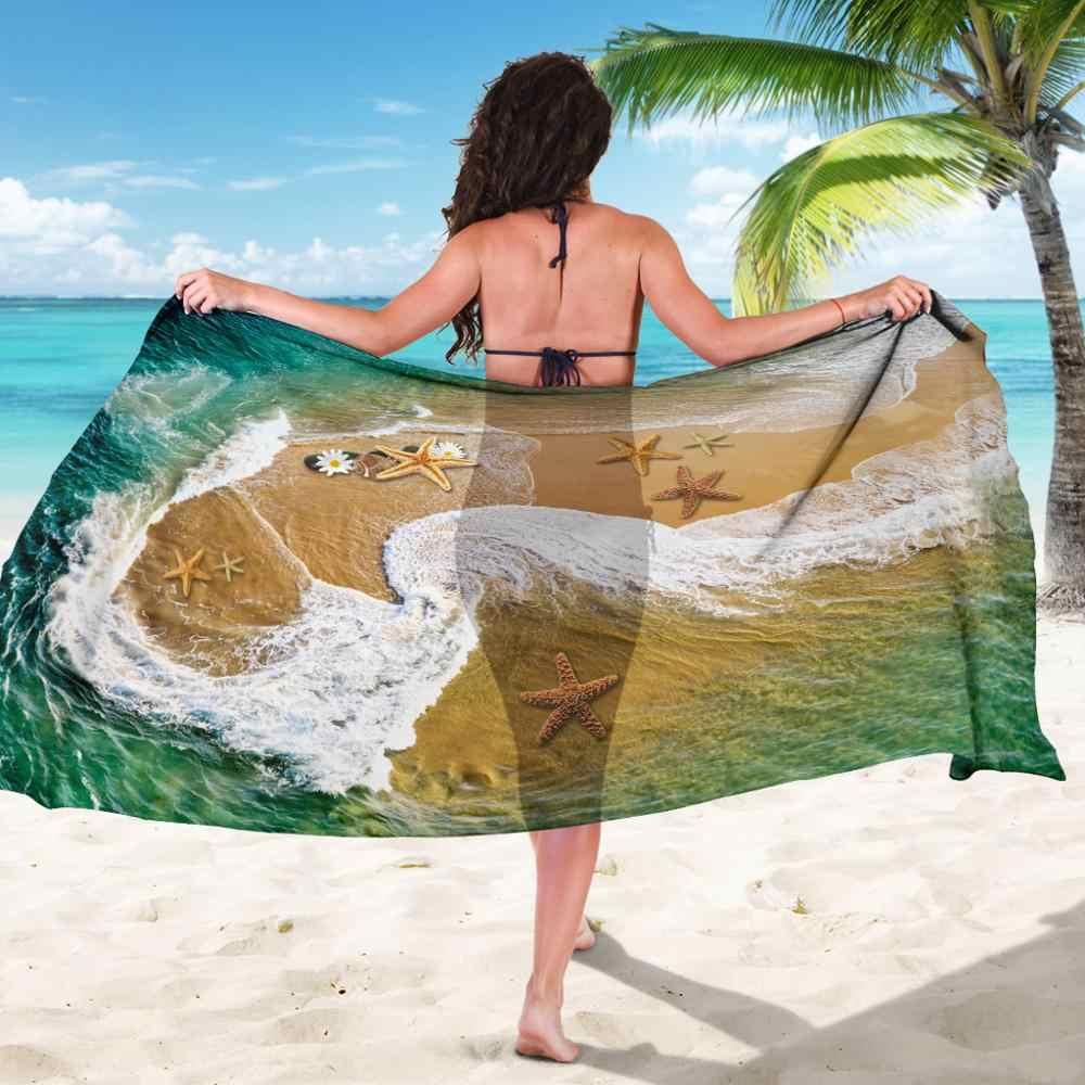100D шифон ткань Большое пляжное полотенце для взрослых Sxey бикини крышка большие пляжные саронги Зеленая морская звезда длинный шифоновый шарф